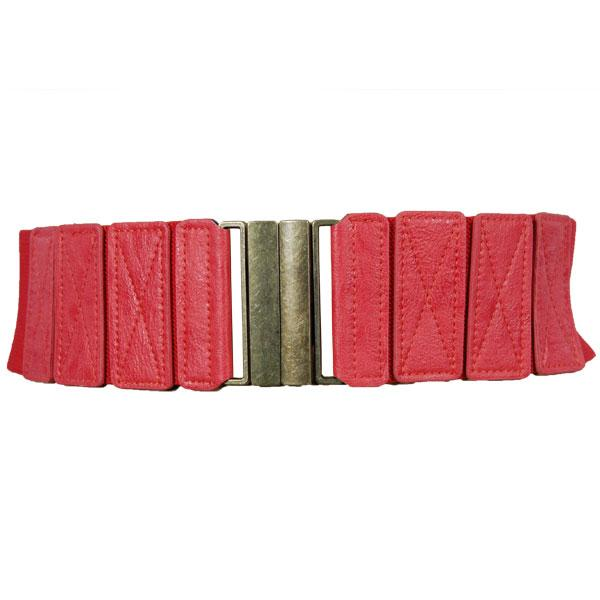 wholesale Fashion Stretch Belts W8244 - Coral - ONE SIZE FITS (S-L)