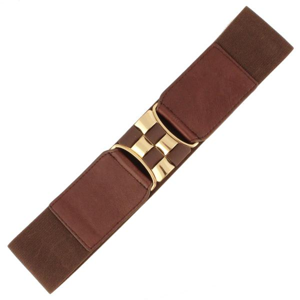 wholesale Fashion Stretch Belts X9061 - Brown - ONE SIZE FITS (S-L)