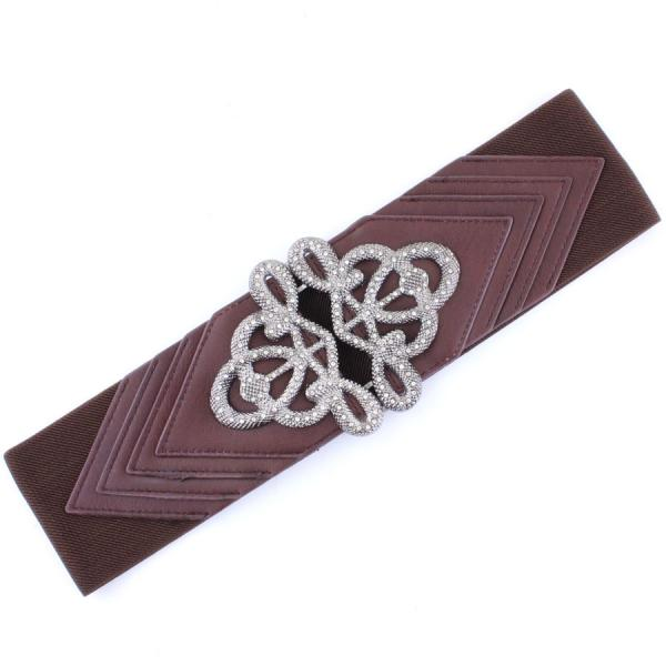 wholesale Fashion Stretch Belts X9065 - Brown - ONE SIZE FITS (S-L)