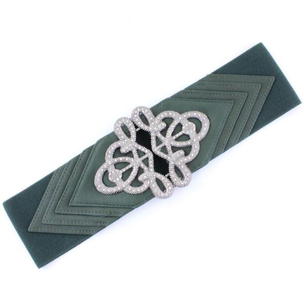 wholesale Fashion Stretch Belts X9065 - Hunter Green - ONE SIZE FITS (S-L)