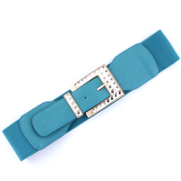 wholesale Fashion Stretch Belts X9155 - Teal Blue - ONE SIZE FITS (S-L)