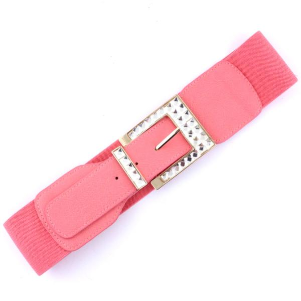wholesale Fashion Stretch Belts X9155 - Light Coral - ONE SIZE FITS (S-L)