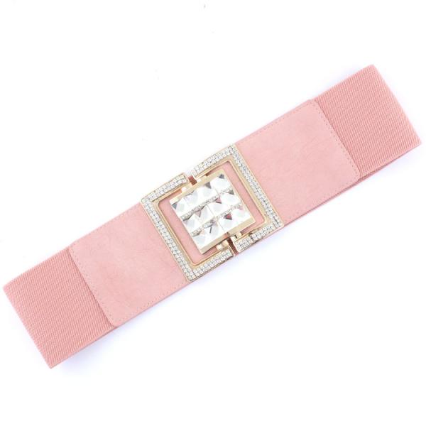 wholesale Fashion Stretch Belts X9207 - Dusty Pink - ONE SIZE FITS (S-L)
