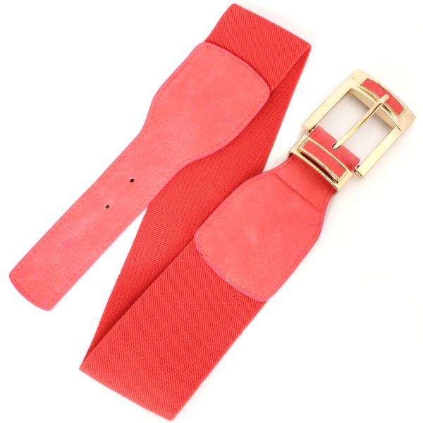 wholesale Fashion Stretch Belts X9312 - Coral - ONE SIZE FITS (S-L)
