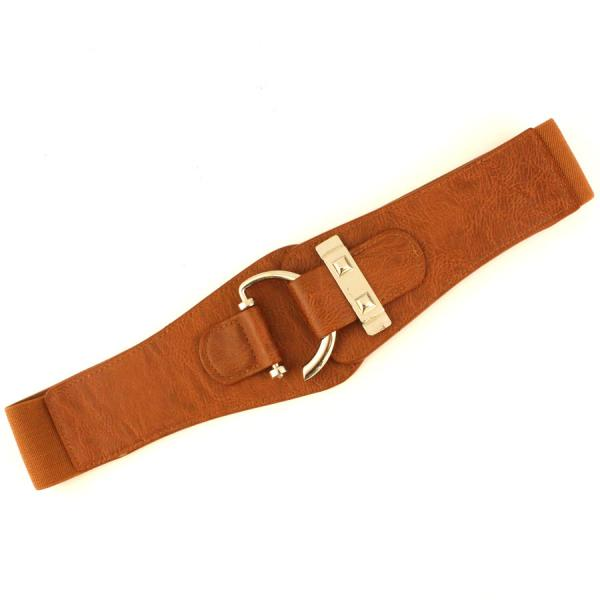wholesale Fashion Stretch Belts Y5072 - Camel - ONE SIZE FITS (S-L)