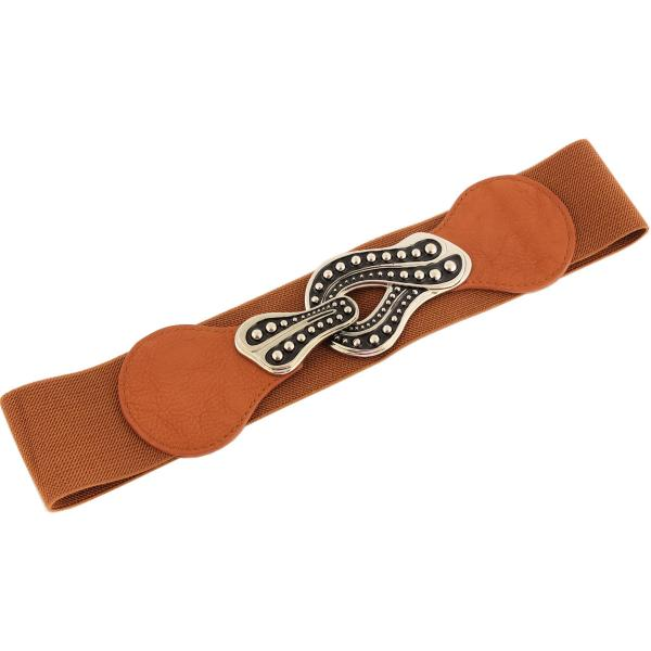 wholesale Fashion Stretch Belts Y5295 - Camel - ONE SIZE FITS (S-L)