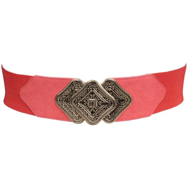 wholesale Fashion Stretch Belts Y5328 - Coral - ONE SIZE FITS (S-L)