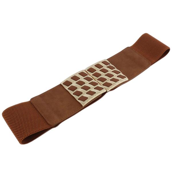 wholesale Fashion Stretch Belts Y5510 - Camel - ONE SIZE FITS (S-L)