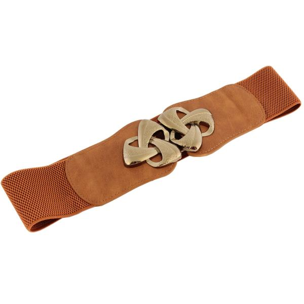 wholesale Fashion Stretch Belts Y5511 - Camel - ONE SIZE FITS (S-L)