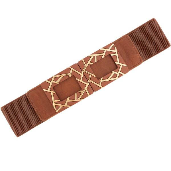 wholesale Fashion Stretch Belts Y5514 - Brown - ONE SIZE FITS (S-L)