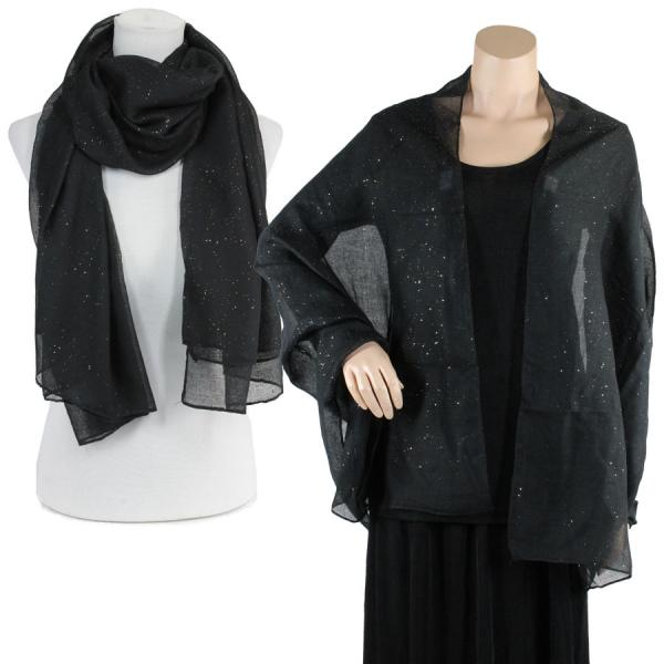 Big Scarves/Shawls - Metallic Flecks ES1003* Black -