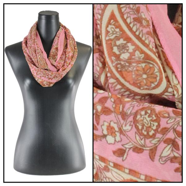 Infinity Silky Dress Scarves Paisley - Pink -