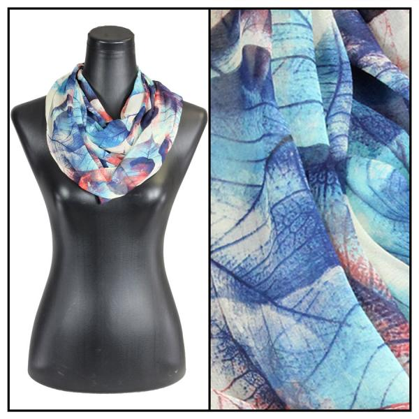 Infinity Silky Dress Scarves Leaves - Blue -