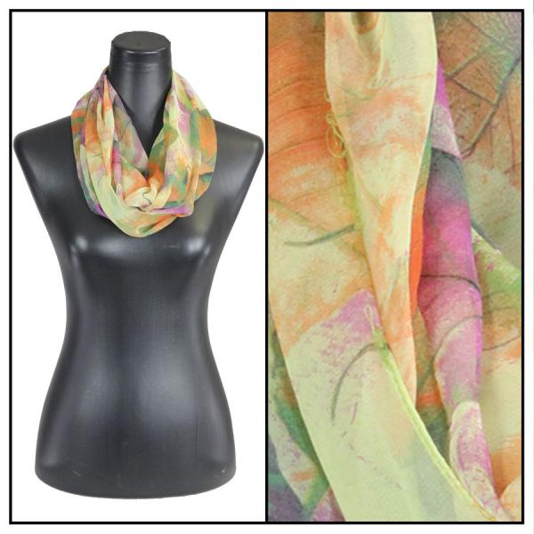 Infinity Silky Dress Scarves Leaves - Green -