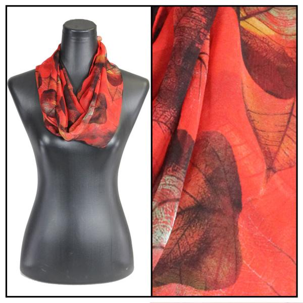 Infinity Silky Dress Scarves Leaves - Red -