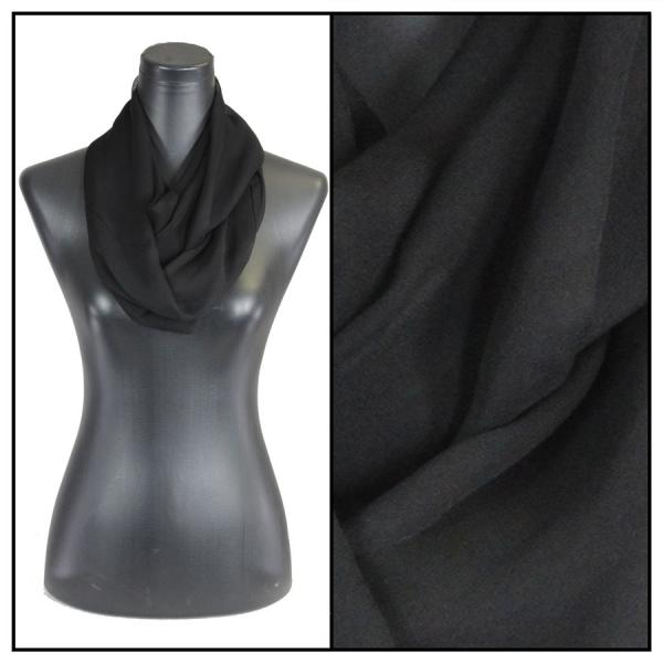 Infinity Silky Dress Scarves Solid Black -