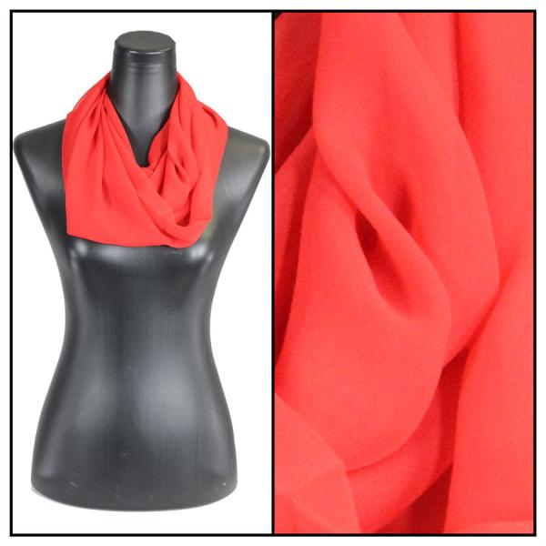 Infinity Silky Dress Scarves Solid Red -