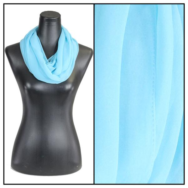 Infinity Silky Dress Scarves Solid Sky Blue -