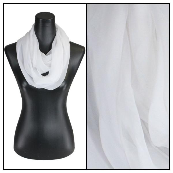 Infinity Silky Dress Scarves Solid White -