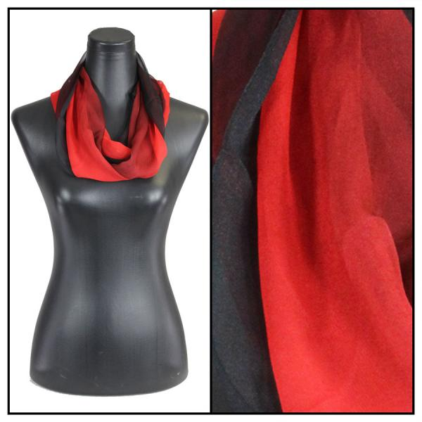 Infinity Silky Dress Scarves Tri-Color - Black-Maroon-Red -
