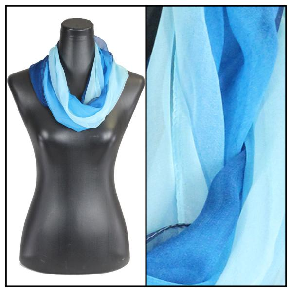 Infinity Silky Dress Scarves Tri-Color - Blues -