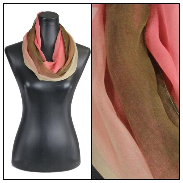 Infinity Silky Dress Scarves Tri-Color - Brown-Coral-Tan -