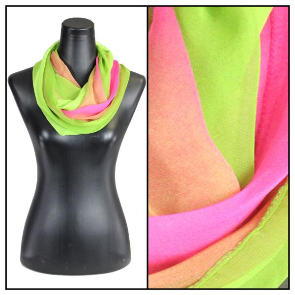 Infinity Silky Dress Scarves Tri-Color - Magenta-Mauve-Lime -