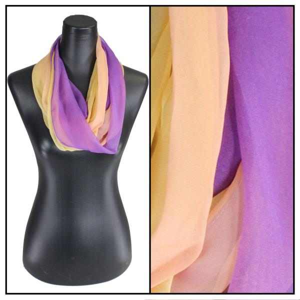 Infinity Silky Dress Scarves Tri-Color - Purple-Peach-Gold -