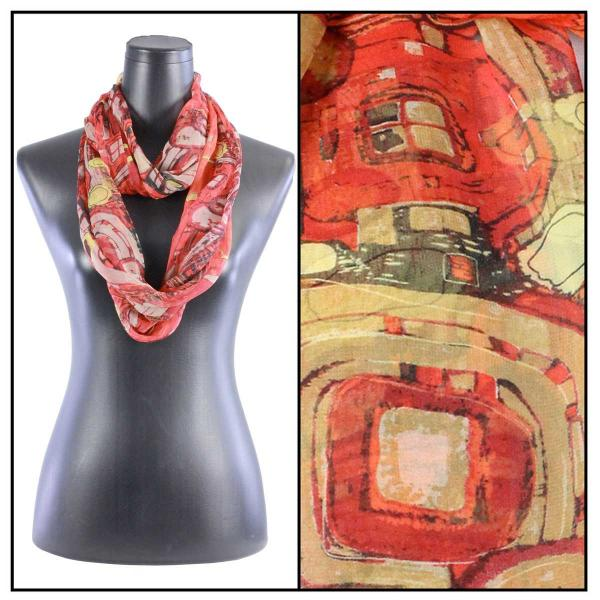 Infinity Silky Dress Scarves Abstract - Red -