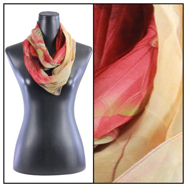 Infinity Silky Dress Scarves Lotus - Red-Gold -
