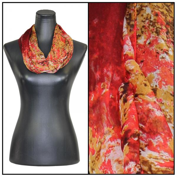 Infinity Silky Dress Scarves Trees - Red -