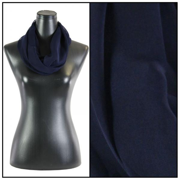 Infinity Silky Dress Scarves Solid Navy -