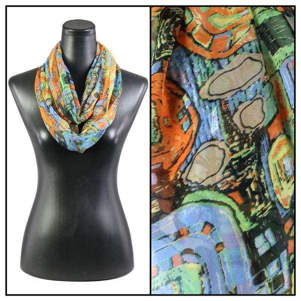 Infinity Silky Dress Scarves Abstract - Orange -