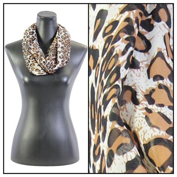 Infinity Silky Dress Scarves Cheetah 2 - White -