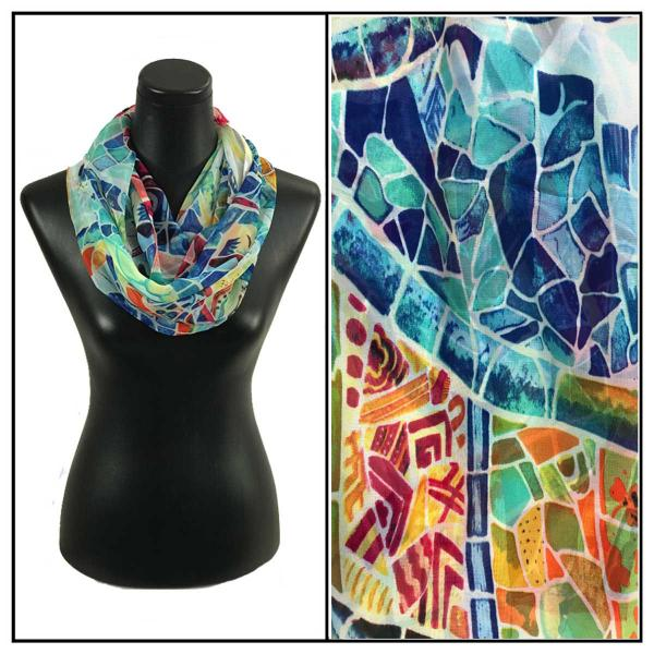 Infinity Silky Dress Scarves Stained Glass - White -