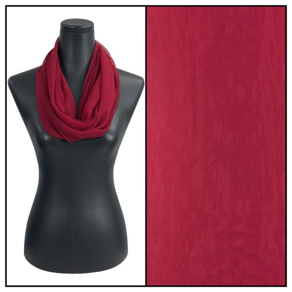 Infinity Silky Dress Scarves Solid Burgundy -