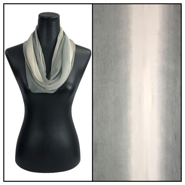 Infinity Silky Dress Scarves Tri-Color - Charcoal-Beige-Grey -