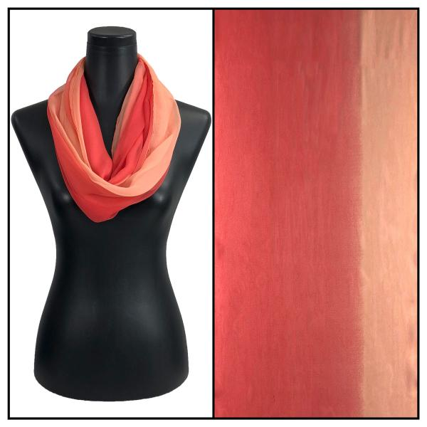 Infinity Silky Dress Scarves Tri-Color - Corals -