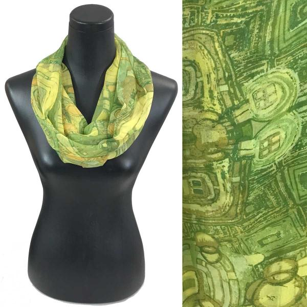 Infinity Silky Dress Scarves Abstract - Green -