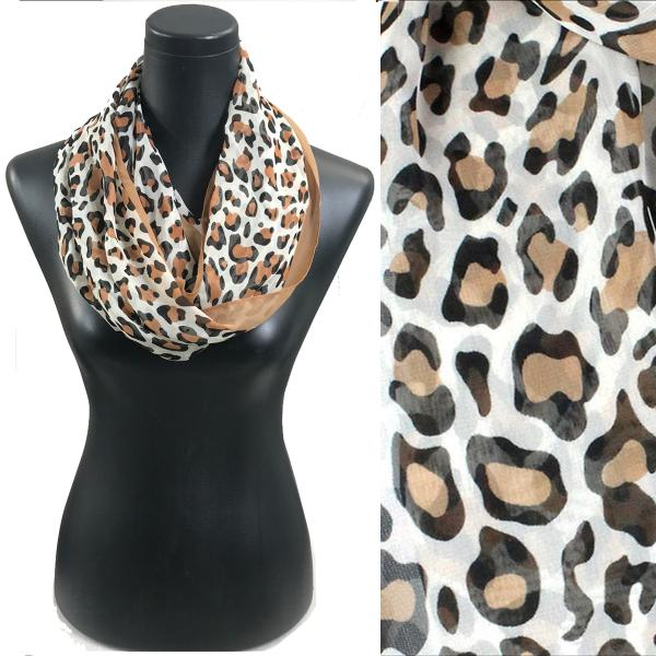 Infinity Silky Dress Scarves Cheetah - Camel -