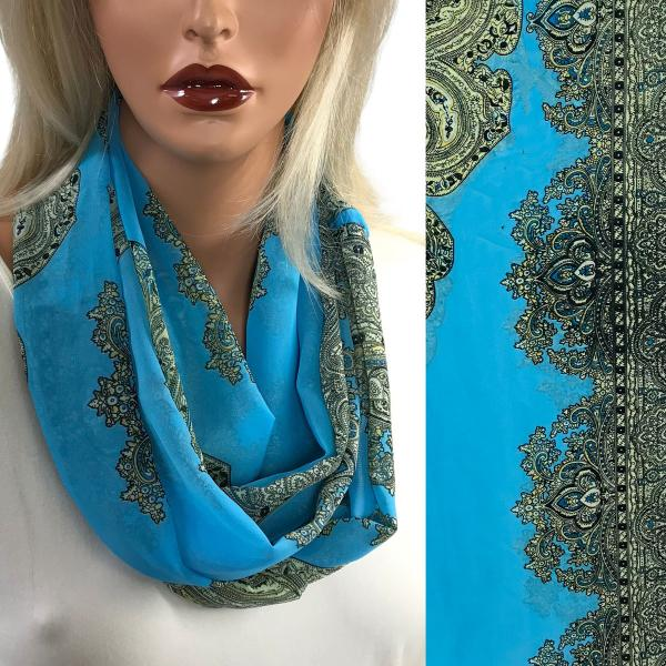 Infinity Silky Dress Scarves Paisley Border Infinity Silky Dress Scarf  - Jade  -