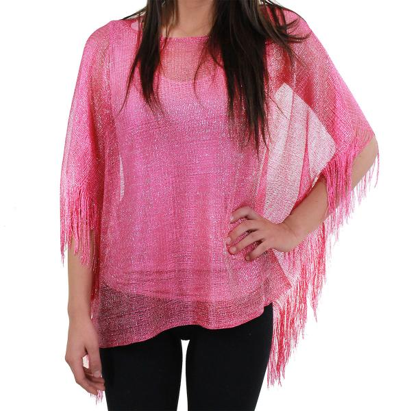 wholesale Poncho - Metallic Mesh X016 and X017 X016 Magenta with Side Fringe -