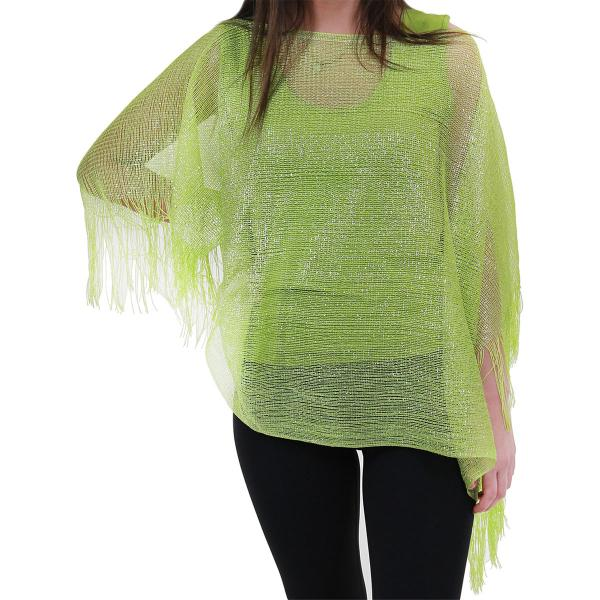 wholesale Poncho - Metallic Mesh X016 and X017 X016 Leaf Green with Side Fringe -
