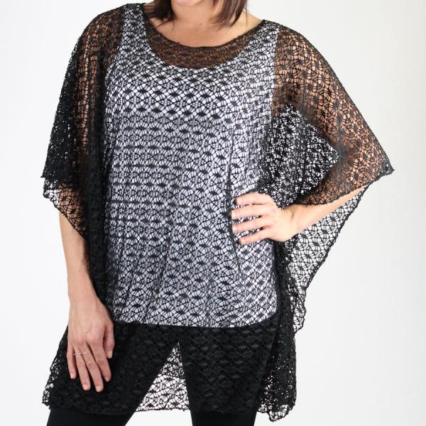 wholesale Poncho - Lace Knit 1109 Black Poncho - Lace Knit 1109 -