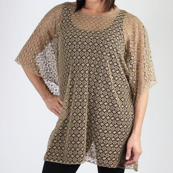 wholesale Poncho - Lace Knit 1109 Brown Poncho - Lace Knit 1109 -
