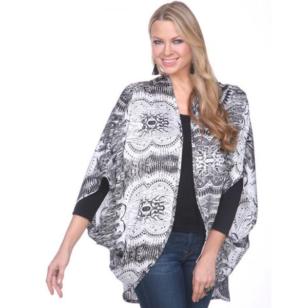 wholesale Kimonos - Satin SM192 & SM195 SM192 - Black-White -