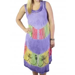 wholesale Summer Calf Length Dresses 2031 Lavender Tie-Dye Stripe (MB) -