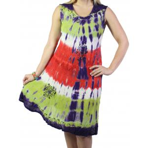 wholesale Summer Calf Length Dresses 2024 Purple-Lime Tie-Dye Design* -