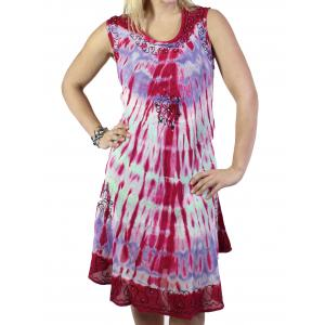 wholesale Summer Calf Length Dresses 2024 Magenta-Violet Tie-Dye Design* -