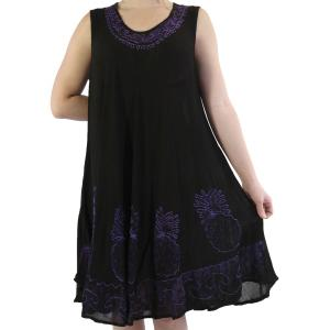 wholesale Summer Calf Length Dresses 11553 Black-Purple Pineapples (MB) -